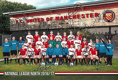 """FC United of Manchester Signed 12"""" x 8"""" Photo by 2016-2017 Squad - 23 Autographs"""
