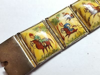 Vintage Hand Painted and Enameled Bone Sterling Silver Bracelet 7.25 inches 3567