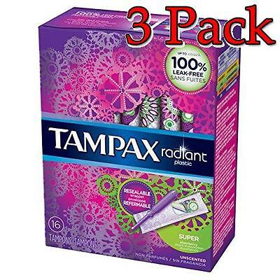 Tampax Radiant Plastic Tampons, Super, 16ct, 3 Pack 073010015357A384