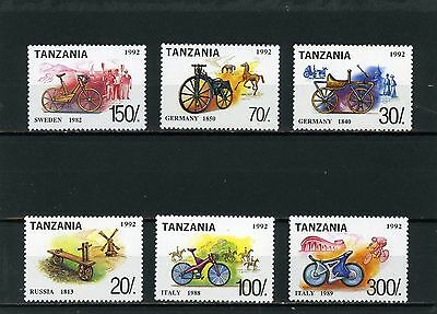 TANZANIA 1992 Sc#985I-985O BICYCLES SET OF 6 STAMPS MNH
