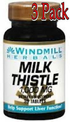 Windmill Milk Thistle 1000 Mg Tablets, 30ct, 3 Pack 035046007157T439