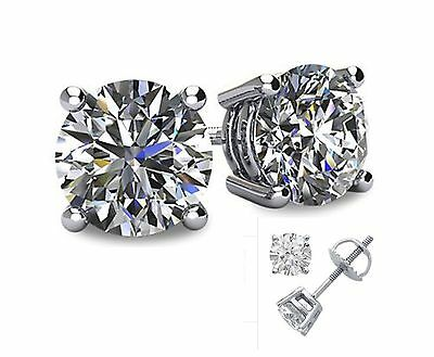 1CT Lab Created Diamond 14K White Gold Round Cut Screw-Back Stud Earrings