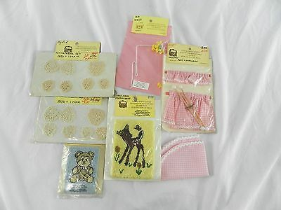 Lot of Vintage Dollhouse Miniatures Rugs Curtains Doilies Bambi Pink Gingham