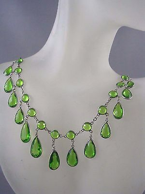 RARE! Antique Art Deco 1920's Faceted Pear Shape Open Back Crystal Necklace