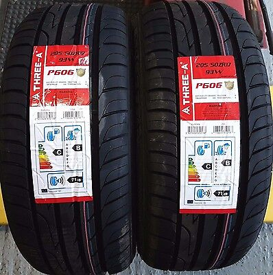 X2 New Tyres 205 50 R17 93W Three-A Amazing B Wet Grip FULLY FITTED 2055017