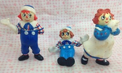 Vintage Raggedy Ann Andy PVC Miniatures Lot 3 Miniature Mini Doll Dolls