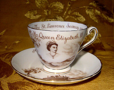 Vintage Tuscan Tea Cup & Saucer Queen Elizabeth St. Lawrence Seaway Opening 1959