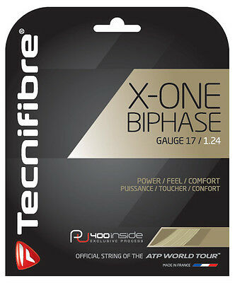 Tecnifibre X-One Biphase Tennis String 1.24Mm 17G One 12M Set Natural - Rrp £30