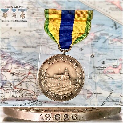 #12628 Wwi Us Navy Mexico Campaign Medal Numbered Split Brooch Bb&b Original