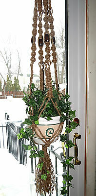 "Jute Macrame Plant Hanger, 45"" Vintage 70s hanging planter, large pot holder"