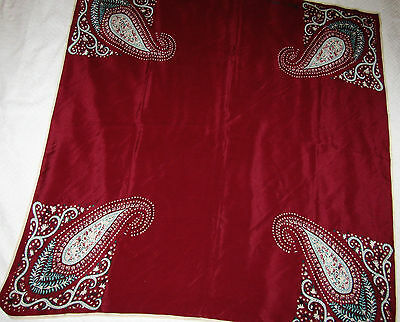 """VTG Anne Klein Paisley Silk Scarf Wine Turquoise 34""""X36"""" For The Vera Company"""