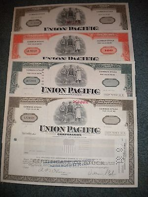 4 Different Union Pacific Stock Certificates