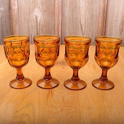 4 Vintage Amber Goblet Footed Wine Glass Thumbprint