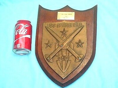 Vtg CIRCA 1960 USS SPRINGFIELD GUIDED MISSILE CRUISER CLG-7 SHIP BRASS PLAQUE