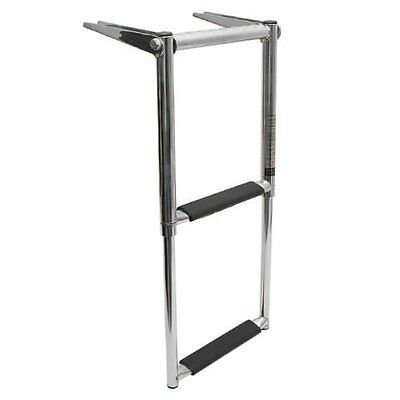 2 Steps Telescoping Swim Marine Boat Ladder Stainless Steel With Handle -AM