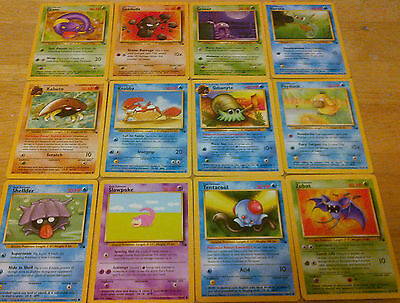 12 Fossil Pokemon Cards Complete Common Set Lot Collection