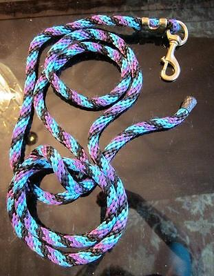 STRONG 8.5 FT Braided Nylon Horse Pony Lead Rope Brass 4 3/4 Snap Hook Goat Dog