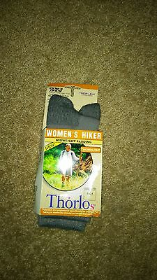 Women's-Thor-Lo-Hiker Socks-New -Crew-Mid-Weight Padding-Size 5-6.5-Pewter