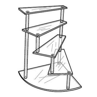 Acrylic Clear Spiral Stairway Figurine or Trinket Display Stand