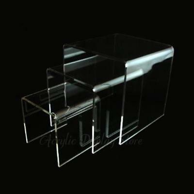 Acrylic Clear Square Riser Display Stand Set of 3 -  Medium