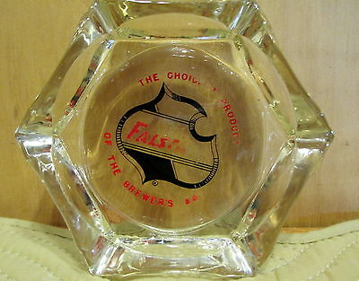 "Falstaff ACL Hexagon Glass 4"" Ashtray The Choicest Product Vintage"