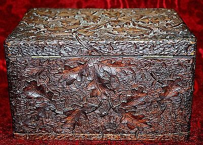 BLACK FOREST Folk Art Oak Antique VtgTree Leaf Carving Box Intricate Carved Rare