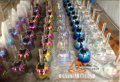 crystal singing bowl with handle and titanium color any one of CC#DD#EFF#GG#AA#B