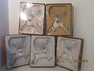 Set of Five Kurt S AdlerGlitter Reindeer Ornaments White and Silver