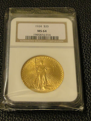 1924 $20 Gold St. Saint Gauden Double Eagle NGC MS 64