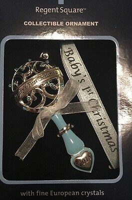 Baby's 1st Christmas Ornament 2015 Boy Regent Square Collectable Blue Rattle