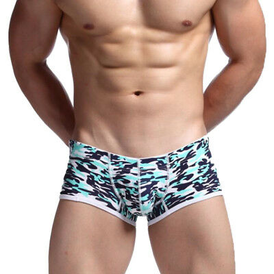 Mens Camouflage Boxer Shorts Sexy Underwear U-shaped T back