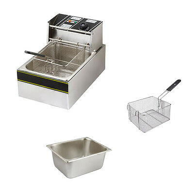 Electric Countertop Deep Fryer Commercial Basket French Fry Restaurant 6L Fryers