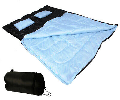 Double Sleeping Bag Camping Hiking 3 SEASON Adult 300GSM w/ 2 Pillows 32F/-5℃
