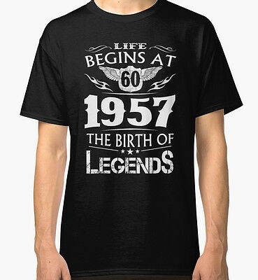 NEW Life Begins At 60 1957 The Birth Of Legends Black Tshirt Size S-2XL