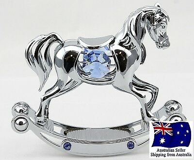 CRYSTOCRAFT Christening Gift with SWAROVSKI Crystals. Rocking Horse, Baby Gift