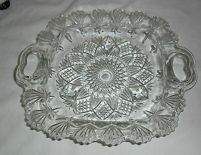Vintage Pasari Pressed Glass Square Footed Serving Dish With Handles