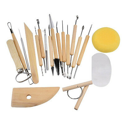New 19pcs Clay Sculpt Smoothing Wax Carving Pottery Ceramic Tools Wood Handle