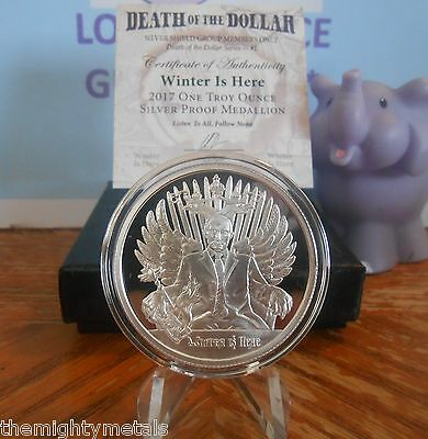 Winter is Here (Putin) Death Of The Dollar Series Silver Shield FREE COPPER COIN