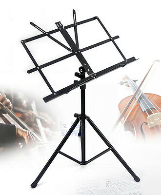 Folding Professional Adjustable Music Sheet Stand Holder Black Portable FREE BAG