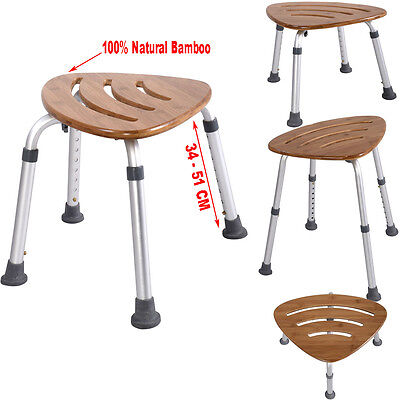 Bath Shower Seat Stool Chair Bench Bamboo Fan Shaped Slip-Resistant Rubber Tip