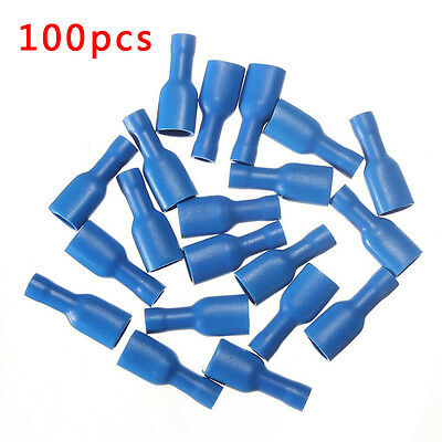 Hot 100pcs Blue Insulated Female Spade Wire Crimp Terminals Connectors 14-16AWG