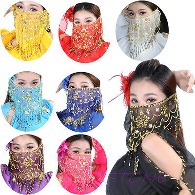Mysterious Lady Belly Dance Dancing Face Veil Voile Sequin Bead Wrap Scarf New