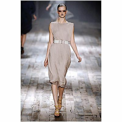 SUBLIME LANVIN Beige Draped Gathered Grecian Goddess Flowing Evening Dress US 6