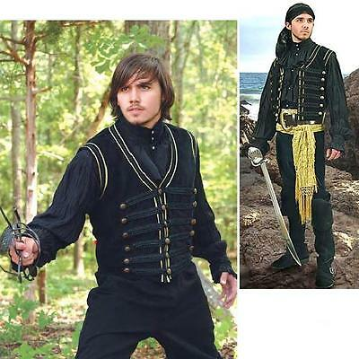 Black Pirate Vest. Perfect For Stage Costume, LARP or Re-enactment