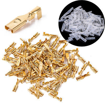 100pcs 2.8mm Brass Crimp Terminal Female Spade Connectors with Insulating Sleeve