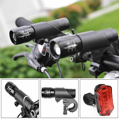 2 X Q5 LED Mountain Bike Bicycle Cycling Zoomable Head Front Lamp Torch Light