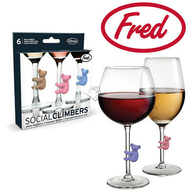 New FRED Social Climbers - Koala Wine Markers Set of 6 - Glass Party Drink Stem