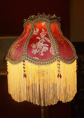 """Madame Bella  A Victorian Downton Beaded Lampshade. Wine Red & Gold Brocade 12"""""""