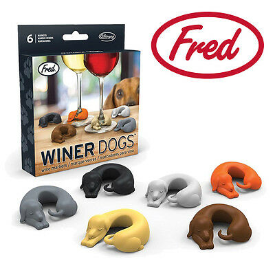 New FRED Winer Dogs - Drink Markers Set of 6 - Dachsunds Silicone Puppy Dog Wine
