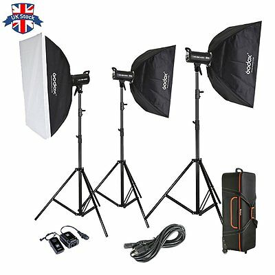UK Godox 3X400W Studio Flash Lighting set Photography Strobe light Portrait Kit